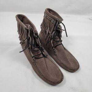 Minnetonka Gray Double Fringe Tramper Ankle Boots